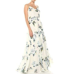 Jenny Yoo Women's Inesse Thin Strap V Neck Dress